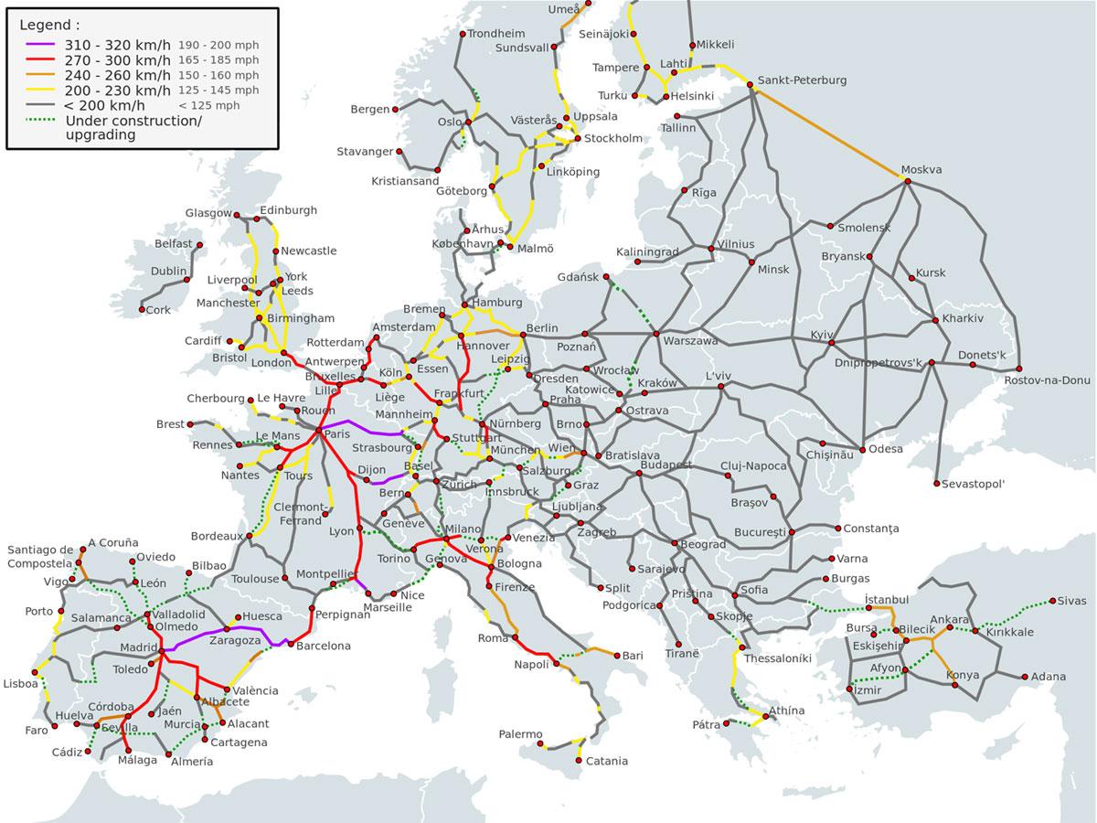 mapa zeleznice evrope Výsledky průzkumu   vysokorychlostní železnice v ČR  mapa zeleznice evrope