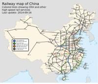 železniční mapa Čína