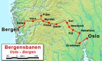 Bergensbanen mapa