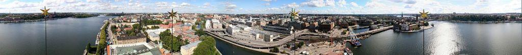Stockholm panorama - pohled z radnice, (Wikimedia, autor: Johannes Akkach)