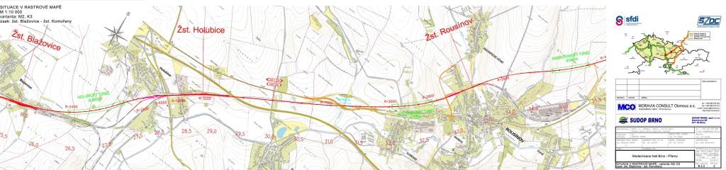 Úsek Blažovice-Komořany modernizace trati Brno - Přerov