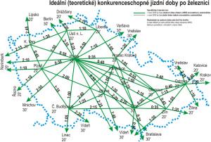 mapa ideálních cestovních časů na železnici mezi městy v ČR